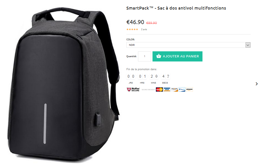 Un sac en promotion permanente 34%plus cher que sur Amazon !